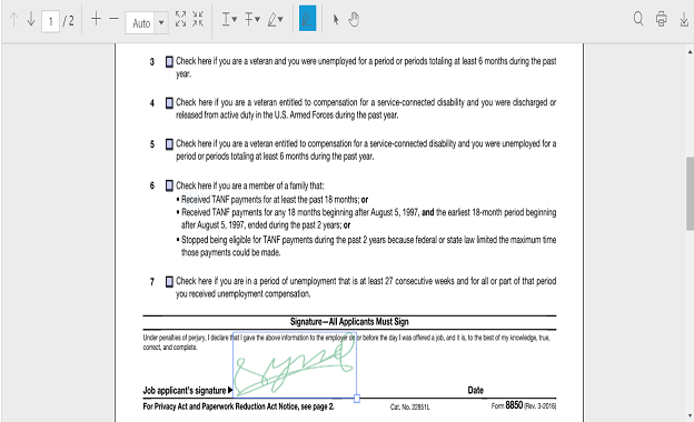Hand written signature in PDF viewer component