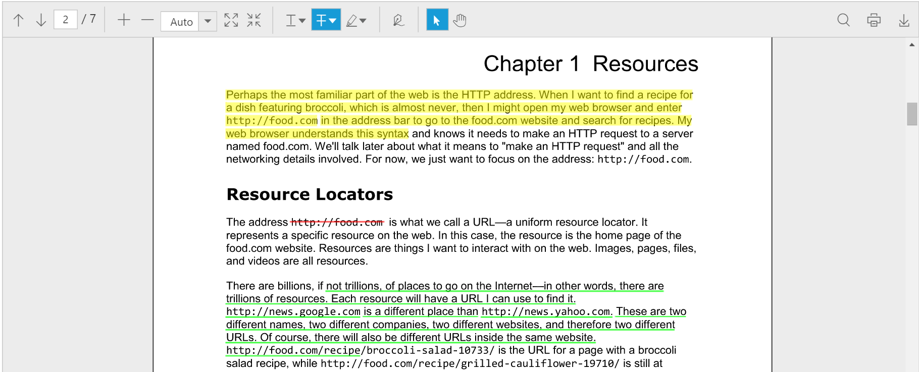 Text markup annotation of PDF viewer component
