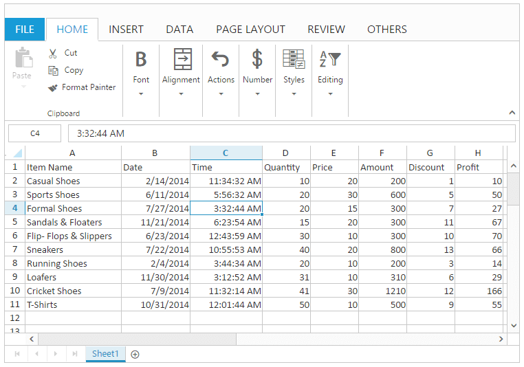 Rows and Columns with Spreadsheet widget for Syncfusion