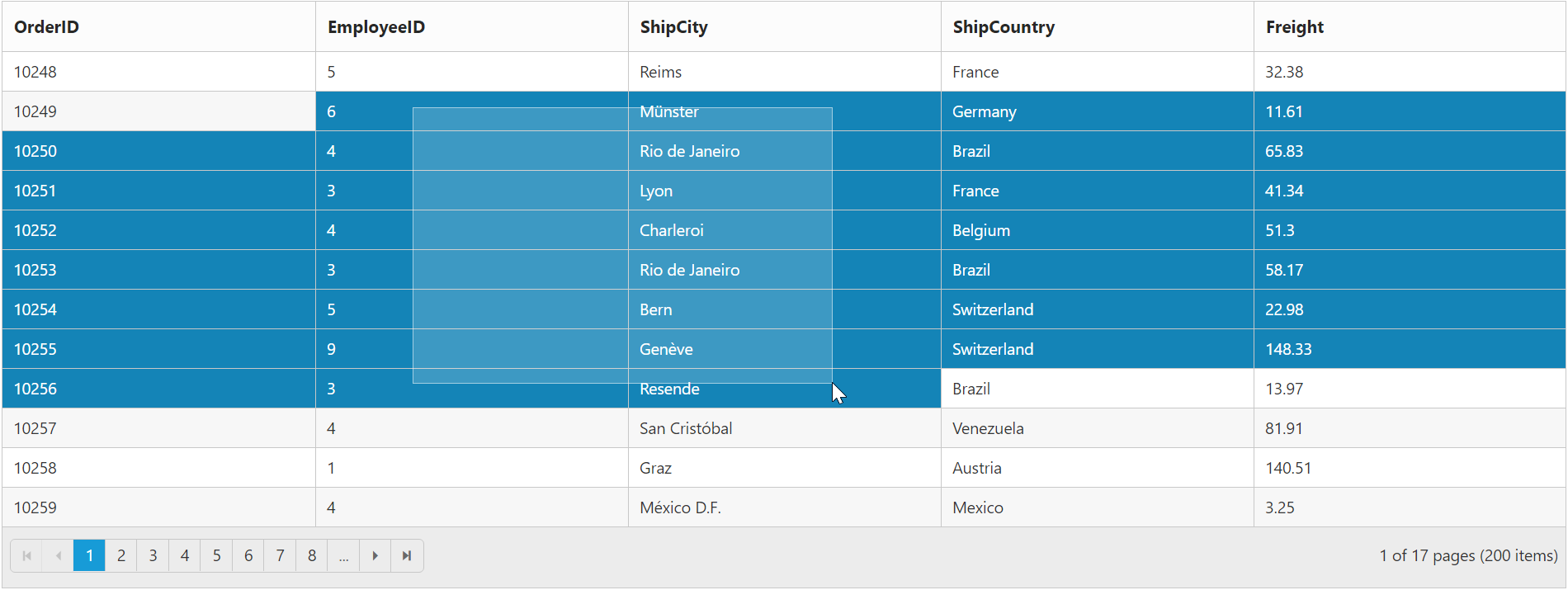 Selection with Grid widget for Syncfusion Essential AngularJS