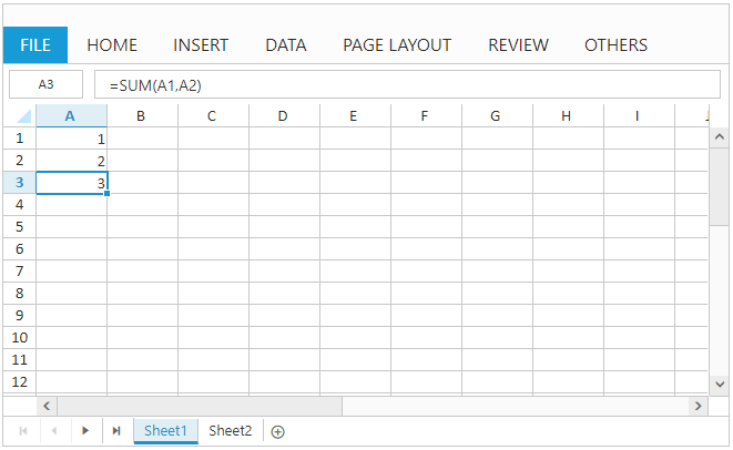 Formula support with Spreadsheet widget for Syncfusion Essential JS