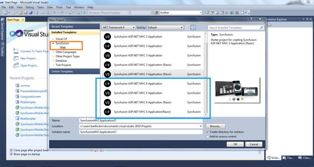 Syncfusion MVC Project Templates | ASP.NET MVC Classic | Syncfusion