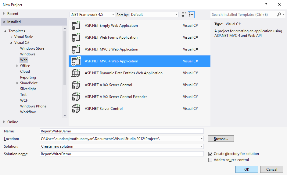 Getting started with Syncfusion Essential ReportWriter for ASP NET MVC