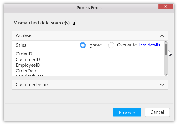 Change ConnectionString of dashboards with Syncfusion switcher utility