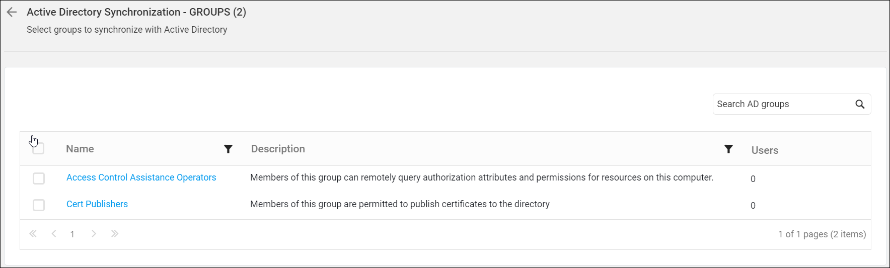 Synchronize Active Directory groups in the Dashboard Server