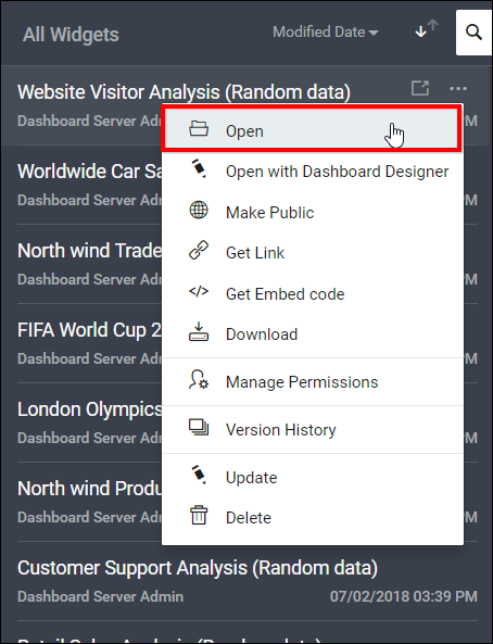 Managing Widgets in the Syncfusion Dashboard Server