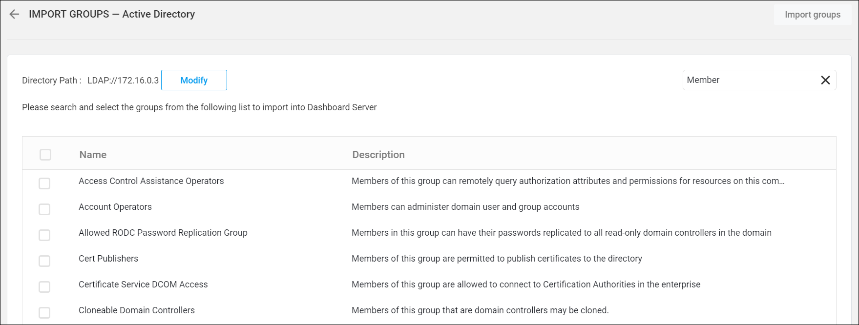 Import Active Directory Groups in the Syncfusion Dashboard
