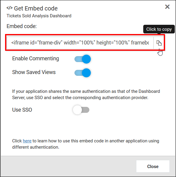 Embedding Server Dashboards in other Web Applications