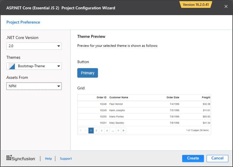 asp net core essential js 2 project templates asp net core