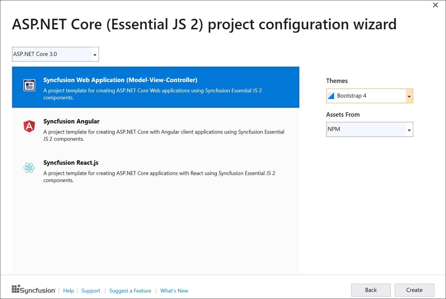 Project Templates | ASP NET Core (Essential JS 2) | Syncfusion