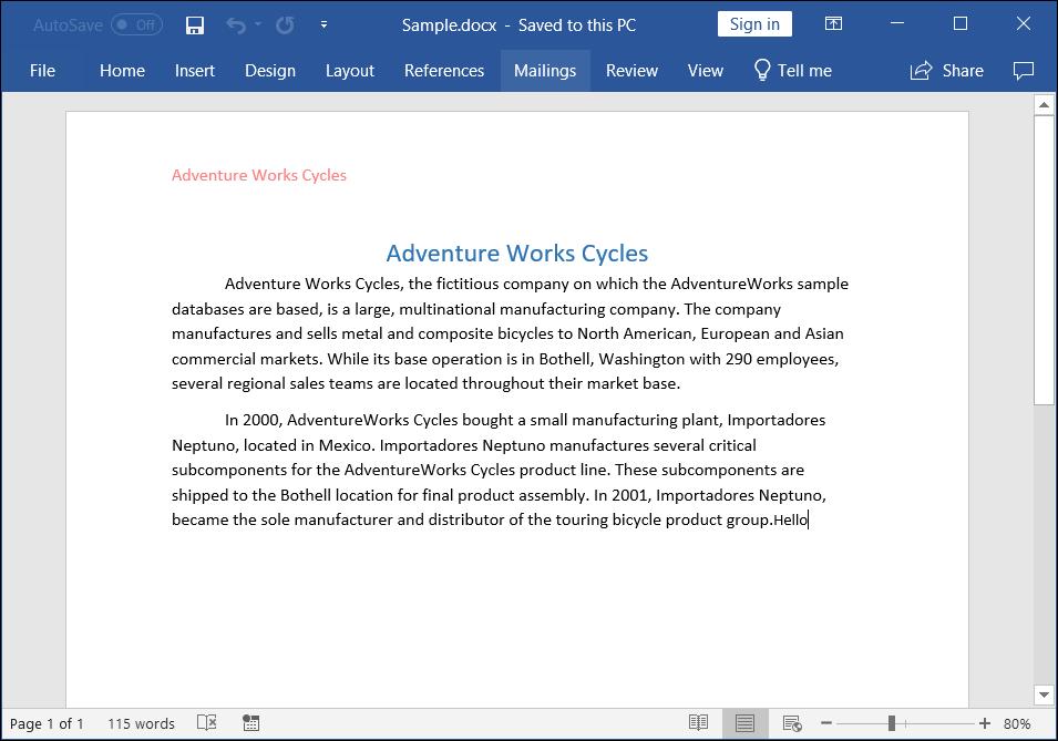 Create Word document in Blazor | DocIO | Syncfusion