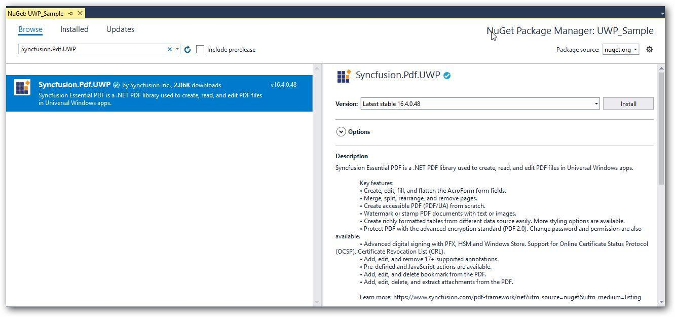 Working with UWP | Syncfusion