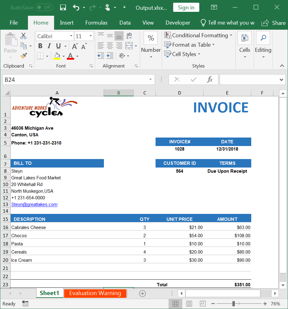 Create, read, and edit Excel files in ASP NET MVC | Syncfusion