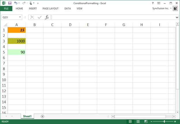 Conditional Formatting | Excel library | Syncfusion