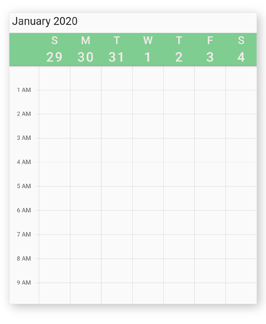 view header with different style in calendar