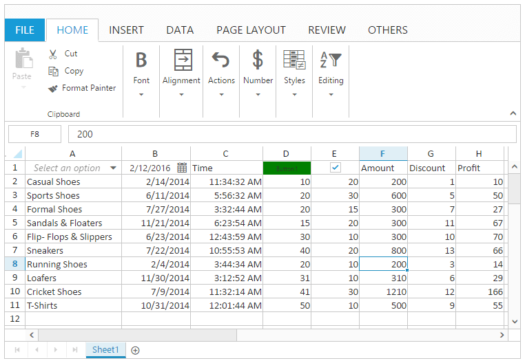 Data presentation with Spreadsheet widget for Syncfusion