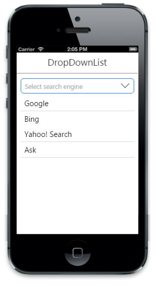 Getting started   DropDownList   Mobilejs   Syncfusion