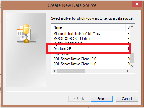 Create DSN for Oracle
