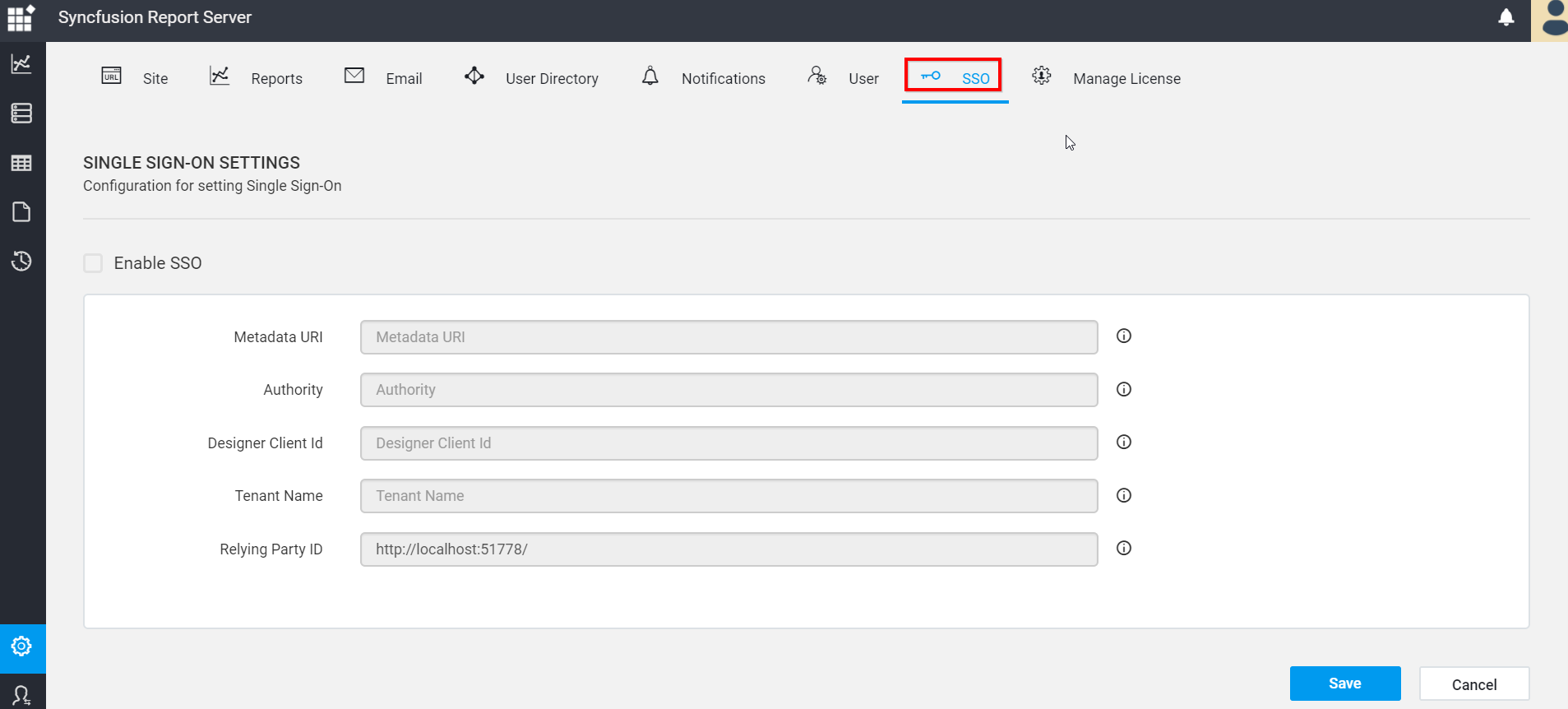 Configure Single Sign-On Details   Report Server   Syncfusion