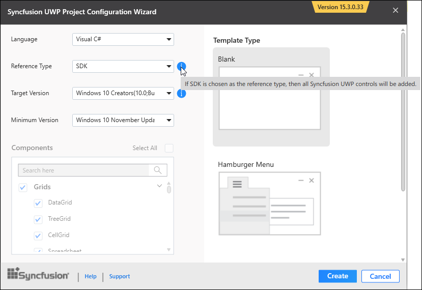 Steps to add Syncfusion Essential UWP controls