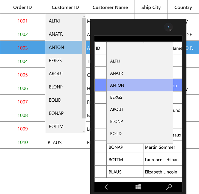 Column Types In UWP DataGrid Control
