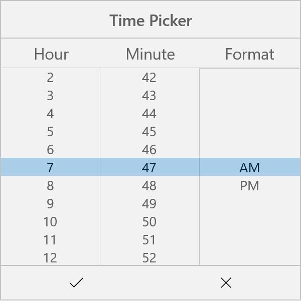 Time Picker In UWP Picker Control