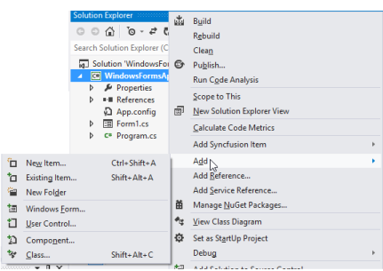 Steps to add Syncfusion Essential Windows Forms controls