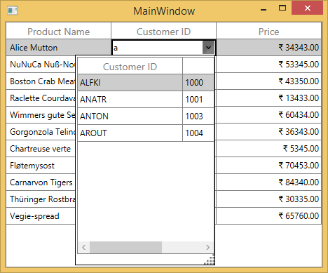 WPF DataGrid Column Types   Template Column   Syncfusion
