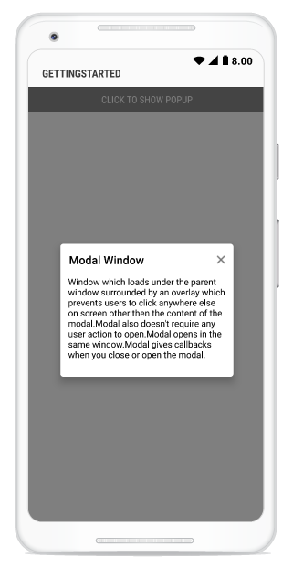 Model Window Popup | SfPopupLayout |Xamarin Android | Syncfusion